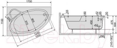 Ванна акриловая Sanplast WAL/CO 110x170+ST6 bi - схема