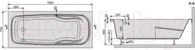 Ванна акриловая Sanplast WP/EKOPlus 70x160+ST4 biew - схема
