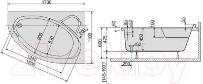 Ванна акриловая Sanplast WAP/CO 110x170+ST6 bi - схема