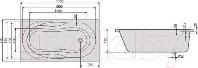Ванна акриловая Sanplast WP/AS 70x170+ST25 biew - схема