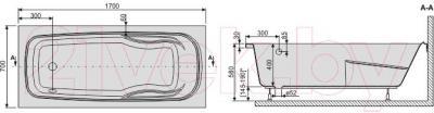 Ванна акриловая Sanplast WP/EKOPlus 70x170+ST4 biew - схема