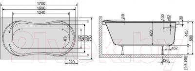 Ванна акриловая Sanplast WP/CL 75x170+ST4 biew - схема