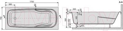 Ванна акриловая Sanplast WP/EKOPlus 75x170+ST4 bi - схема