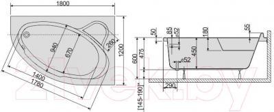 Ванна акриловая Sanplast WAP/CO 120x180+ST6 bi - схема