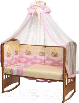 Комплект в кроватку Perina Аманда А3-02.3 (Ночка розовый) - балдахин и бампер в комплект не входят
