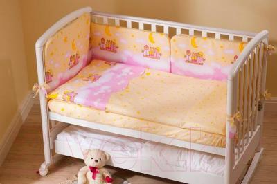 Комплект в кроватку Perina Аманда А3-02.3 (Ночка розовый) - бампер в комплект не входит