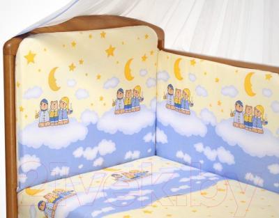 Комплект в кроватку Perina Аманда А3-02.4 (Ночка голубой) - балдахин и бампер в комплект не входят