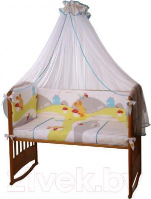 Комплект в кроватку Perina Кроха К3-02.0 (Веселый кролик) - балдахин и бампер не входят в комплект