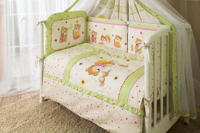 Комплект в кроватку Perina Ника Н3-01.1 (Мишка на подушке салатовый) - бампер и балдахин не входят в комплект
