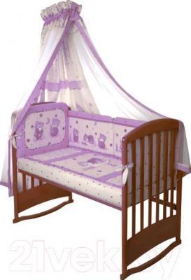 Комплект в кроватку Perina Ника Н4-01.4 (Мишка на подушке лиловый) - балдахин не входит в комплект