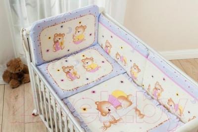Комплект в кроватку Perina Ника Н4-01.4 (Мишка на подушке лиловый) - общий вид