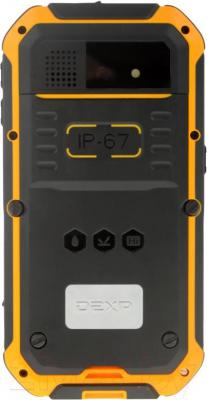 "Смартфон DEXP Ixion P 4"" (черно-желтый) - вид сзади"