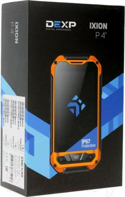 "Смартфон DEXP Ixion P 4"" (черно-желтый) - упаковка"