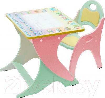 Стол+стул Интехпроект Фиксики 14-409 (фисташковый и розовый)