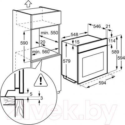Электрический духовой шкаф AEG BS5731400M - схема встраивания