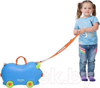 Детский чемодан Kidsmile AX21 (Blue) - с ремешком