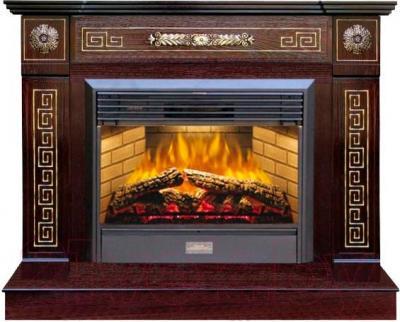 Каминокомплект Смолком Bristol Bar + Jupiter FX Brass (махагон-коричневый антик) - общий вид