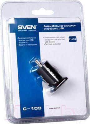 Автомобильный адаптер питания Sven C-103 (Black) - в упаковке