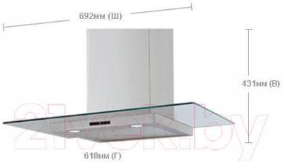 Вытяжка Т-образная Samsung HDC6D90UG/EUR - габаритные размеры