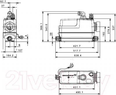 Канализационная установка Grundfos Sololift2 CWC-3 (97775316) - схема