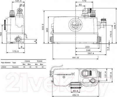 Канализационная установка Grundfos Sololift2 WC-3 (97775315) - схема