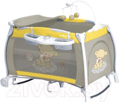 Кровать-манеж Lorelli I'Lounge Rocker (Yellow-Gray Bear) - общий вид