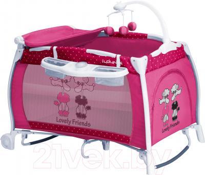 Кровать-манеж Lorelli I'Lounge Rocker (Pink Friends) - общий вид