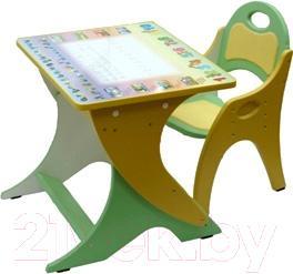 Парта+стул Интехпроект Зима-Лето 14-338 (фисташковый и желтый) - общий вид