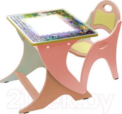 Парта+стул Интехпроект День-ночь 14-369 (розовый и персиковый) - общий вид