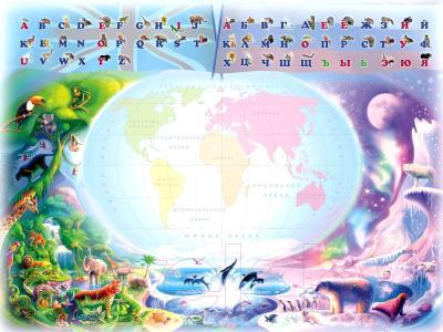 Парта+стул Интехпроект Буквы-цифры 14-390 (розовый и персиковый) - столешница