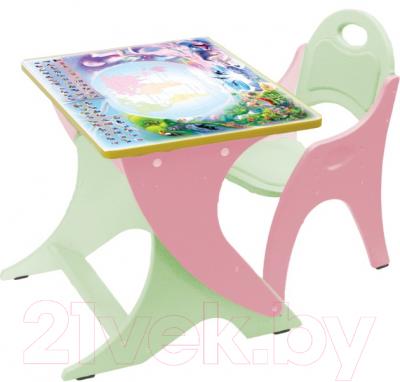 Парта+стул Интехпроект Буквы-цифры 14-390 (розовый и персиковый) - общий вид