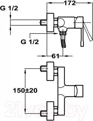 Смеситель Teka Alaior 552310200 - схематическое изображение
