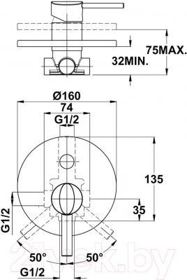 Смеситель Teka Ares 231710200 - технический чертеж