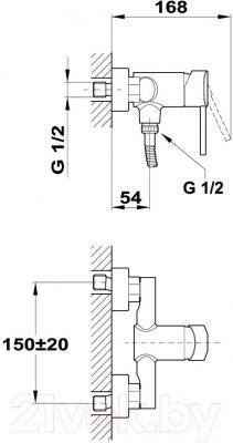Смеситель Teka Ares 232310200 - схематическое изображение