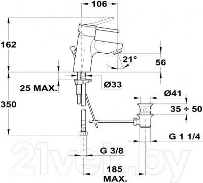 Смеситель Teka Ares 233420200 - технический чертеж