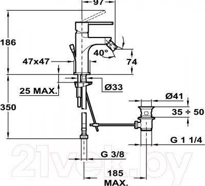 Смеситель Teka Aura 506220200 - технический чертеж