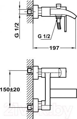 Смеситель Teka Aura 501010200 - технический чертеж