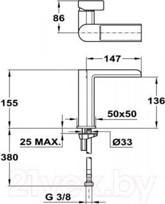 Смеситель Teka Formentera 623310200 - технический чертеж