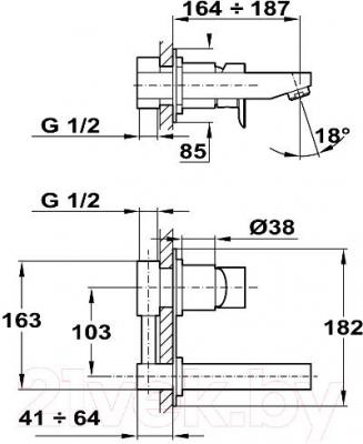 Смеситель Teka Formentera 624610200 - технический чертеж