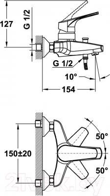Смеситель Teka MT Plus 461210200 - монтажная схема