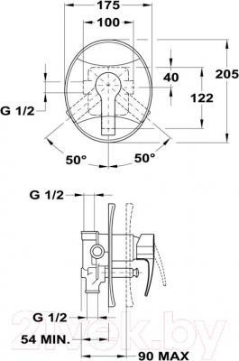 Смеситель Teka Vita 241700200 - монтажная схема
