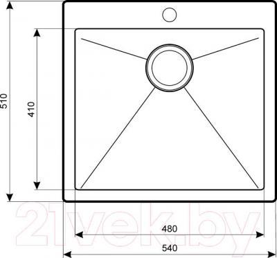 Мойка кухонная Aquasanita LUNA LUN 100S (сталь) - схема