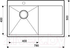 Мойка кухонная Aquasanita LUNA LUN 101NL (сталь) - схема