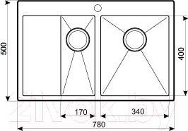 Мойка кухонная Aquasanita LUNA LUN 151NR (сталь) - схема
