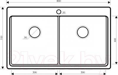 Мойка кухонная Aquasanita SQM200AW (черный металлик) - схема
