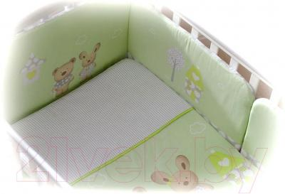 Комплект в кроватку Perina Венеция В4-02.1 (Лапушки салатовый) - общий вид