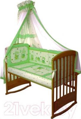 Комплект в кроватку Perina Ника Н4-01.1 (Мишка на подушке салатовый) - общий вид