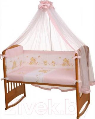 Комплект в кроватку Perina Фея Ф3-01.3 (Лето розовый) - балдахин и бампер в комплект не входят