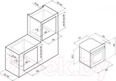 Электрический духовой шкаф Exiteq F107SIX-PT - схема встраивания