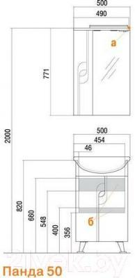 Шкаф с зеркалом для ванной Акватон Панда 50 (1A007402PD01R)